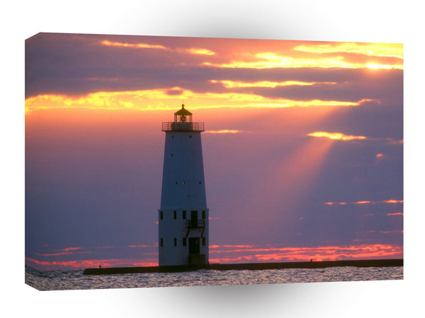 Lighthouses Breakwater Lake Michigan Frankfort Michigan A1 Xlarge Canvas
