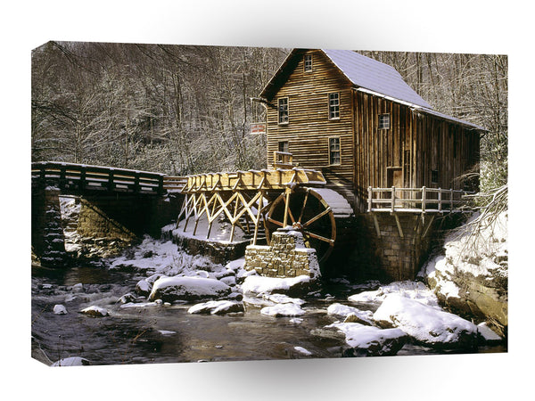 Mills Glade Creek Grist Mill In Winter Babcock Virginia A1 Xlarge Canvas