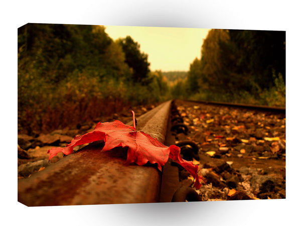 Nature Autumn On The Tracks A1 Xlarge Canvas