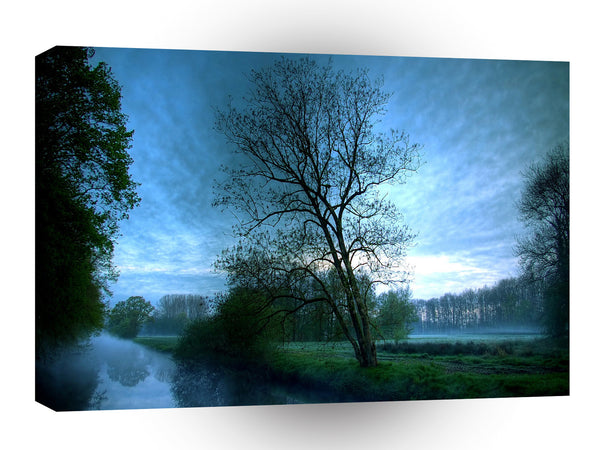 Nature Lakeside Blue Mist Canal A1 Xlarge Canvas