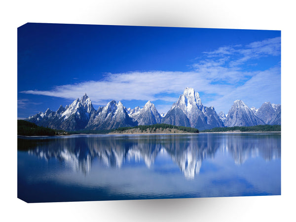 Nature Lakeside Mountain White Top A1 Xlarge Canvas