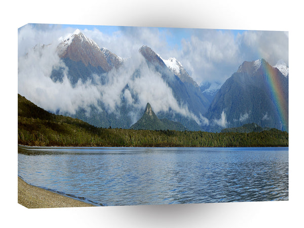 Nature Lakeside Rainbow Mountains A1 Xlarge Canvas