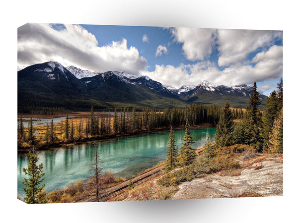 Nature River Blue Lagoon Mountains A1 Xlarge Canvas