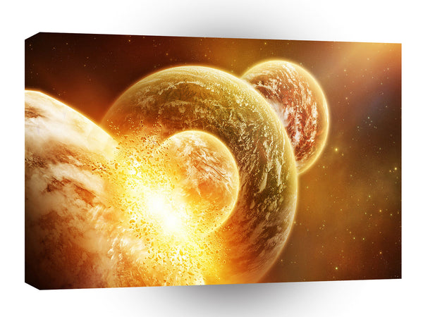Planets Sci Fi Earth Armageddon Clash A1 Xlarge Canvas