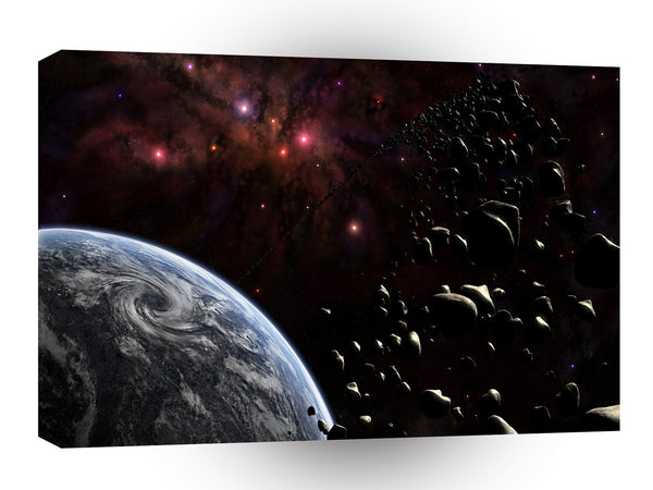 Planets Sci Fi Earth Armageddon Rock Storm A1 Xlarge Canvas