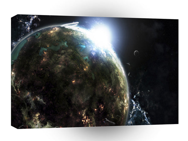 Planets Sci Fi Earth Deep Impact A1 Xlarge Canvas