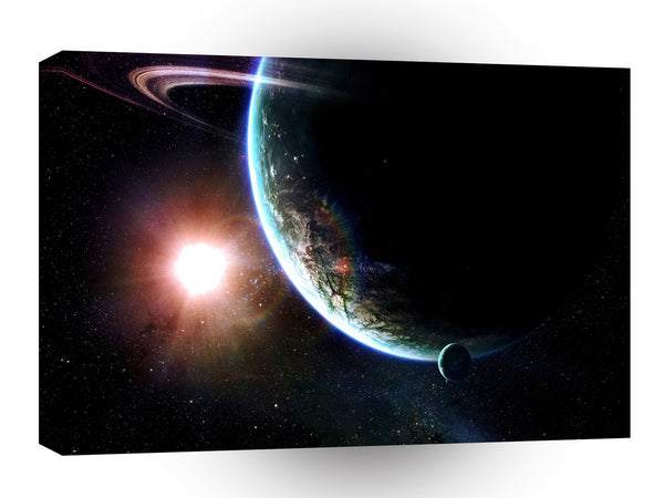 Planets Sci Fi Earth Eclipse Glow One Star A1 Xlarge Canvas