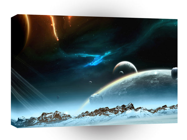 Planets Sci Fi Earth Ice A1 Xlarge Canvas