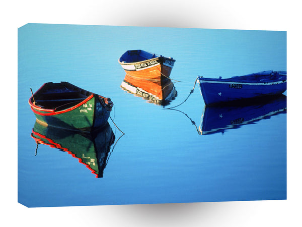 Portugal Moored Rowboats Olhao A1 Xlarge Canvas