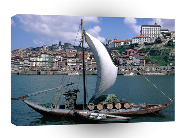 Portugal Wine Boat Douro River A1 Xlarge Canvas