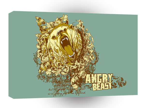 Psychedelic Bear Angry Beast A1 Xlarge Canvas