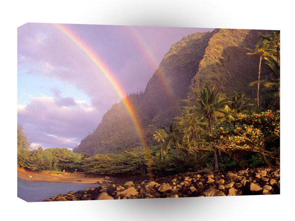 Rainbow Double Kee Beach Kauai Hawaii A1 Xlarge Canvas