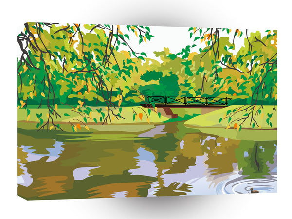 Scenery Autum Leaves Bridge Walk A1 Xlarge Canvas