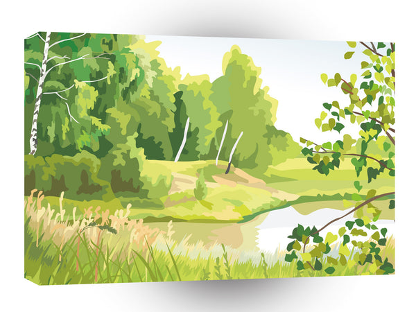 Scenery Birch Bank Grasses A1 Xlarge Canvas