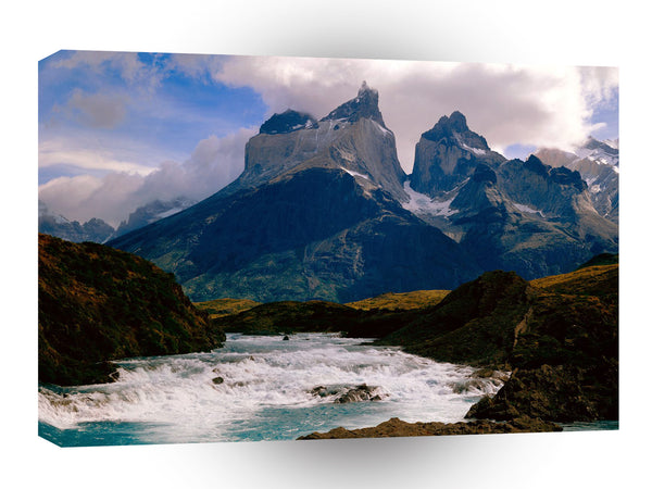 South America Cool Running Torres Del Painepark Chile A1 Xlarge Canvas