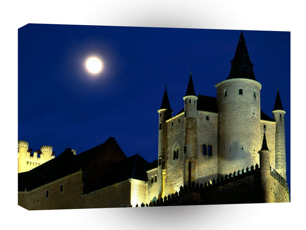 Spain Moon Over Alcazar Castle Segovia A1 Xlarge Canvas