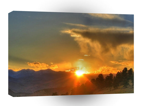 Sunset Across The Mountains A1 Xlarge Canvas