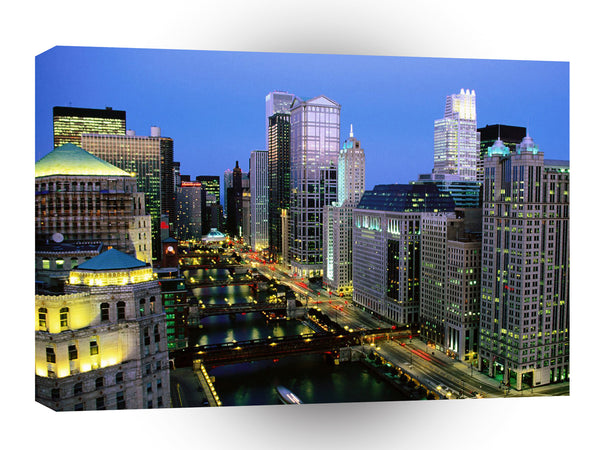 United States A River Runs Through It Chicago River Illinois A1 Xlarge Canvas