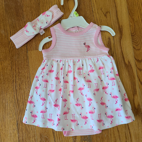Little Me Flamingo Bodysuit Dress