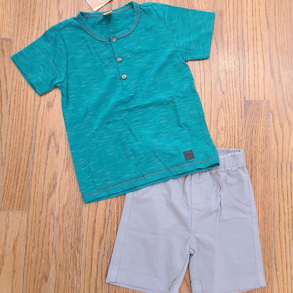 Up baby Teal Henley w/ Gray shorts
