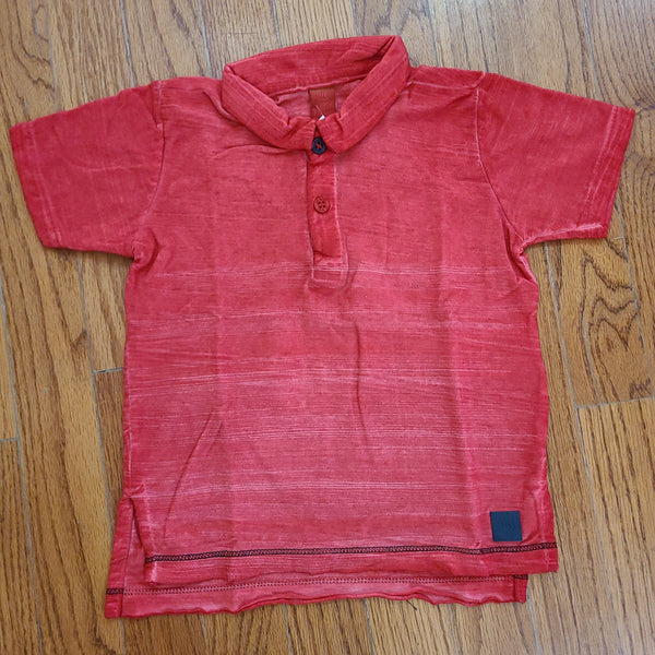 Up Baby Red Distressed Polo