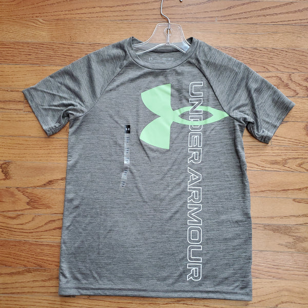 UA Youth Tech Split Logo Hybrid-Gray/green
