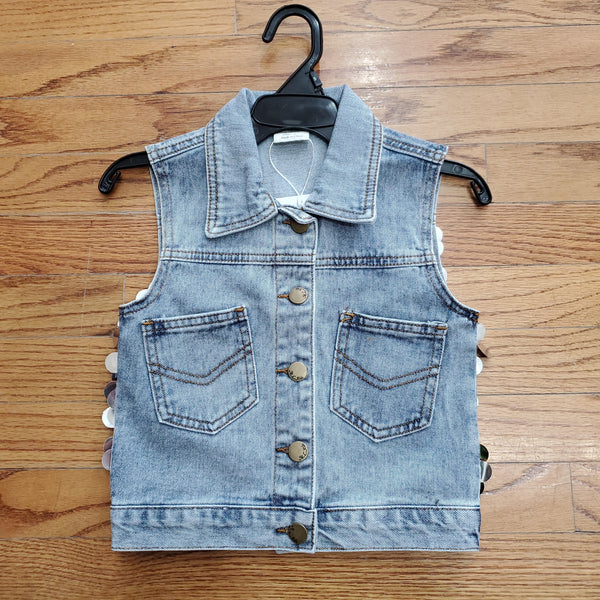 ML Kids Sequins Back Denim Vest