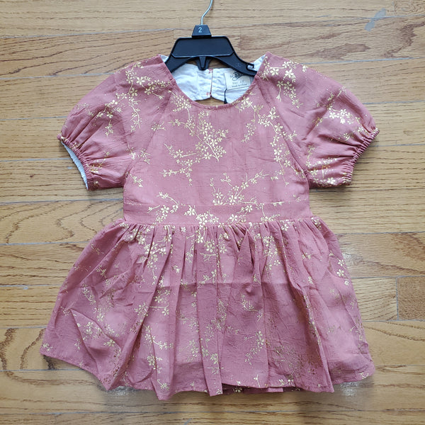 ML Kids Key-Hole Back Foil Dress