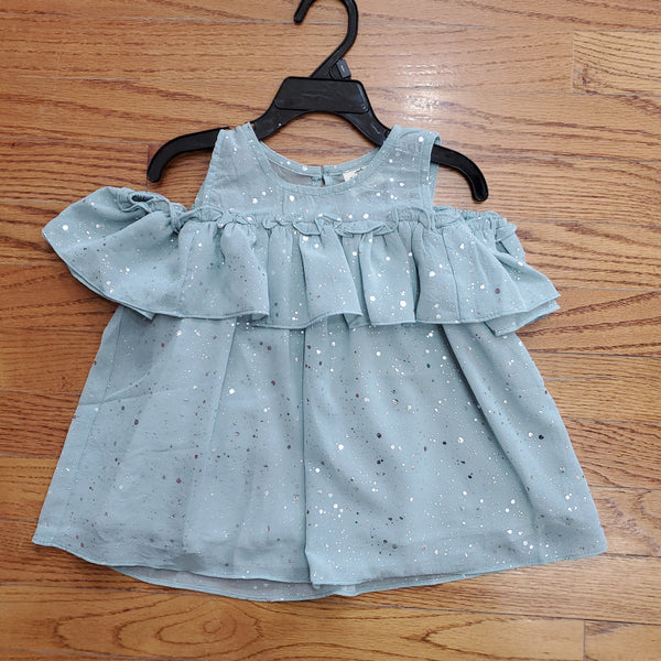 ML Kids Cold Shoulder Teal Foil Top