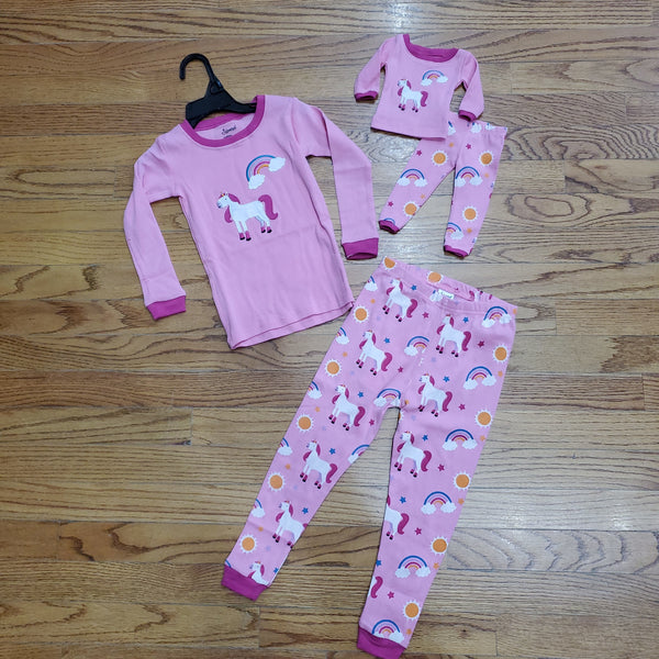 Leveret Matching Girl & Doll Unicorn Pjs Set