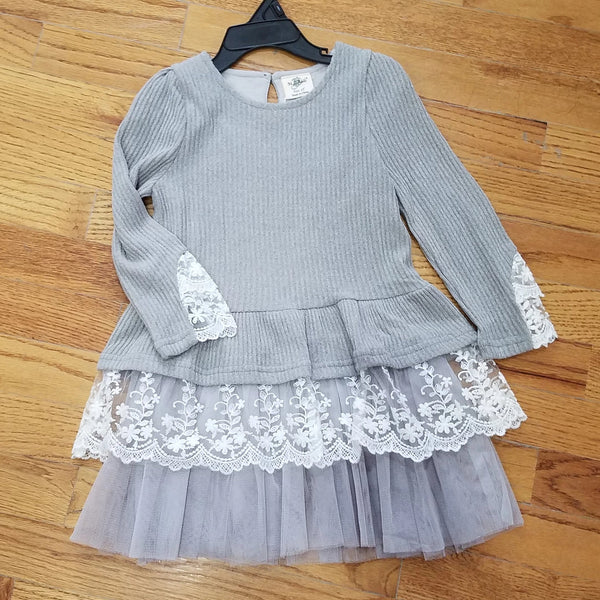 ML Kids Gray/Cream Dress