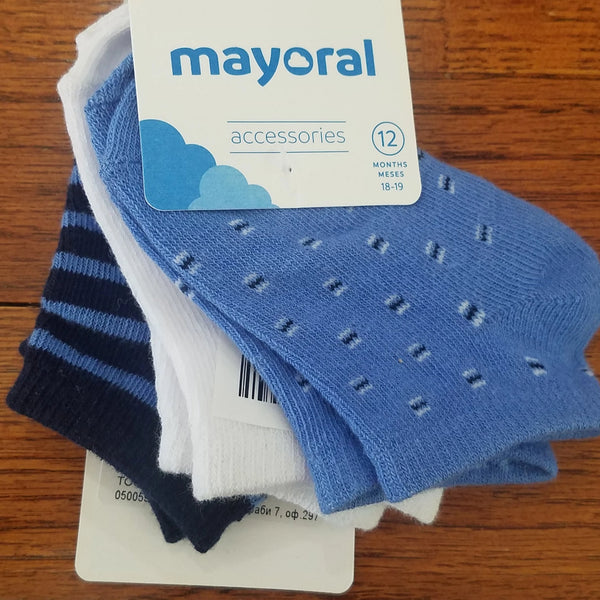Mayoral 3 pack blue boys socks
