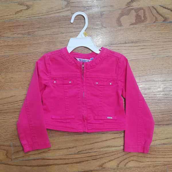 Mayoral Pink Denim Baby Jacket