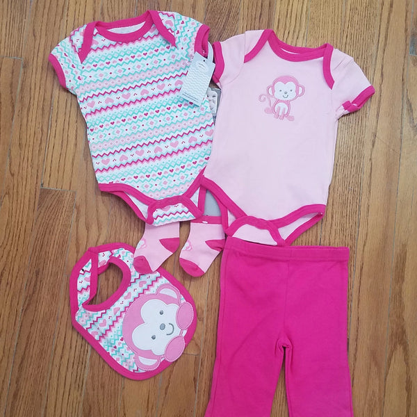 Mother's Choice 5pc pink monkey set