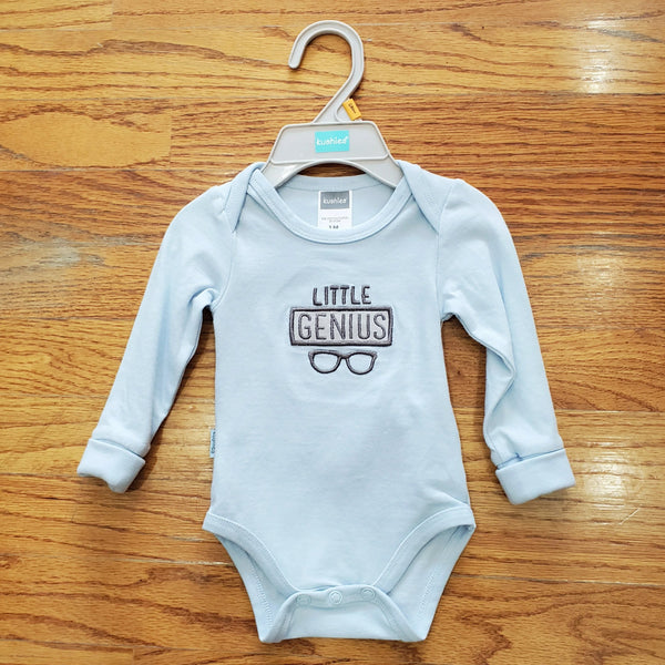 Kushies Little Genius blue long sleeve Onesie