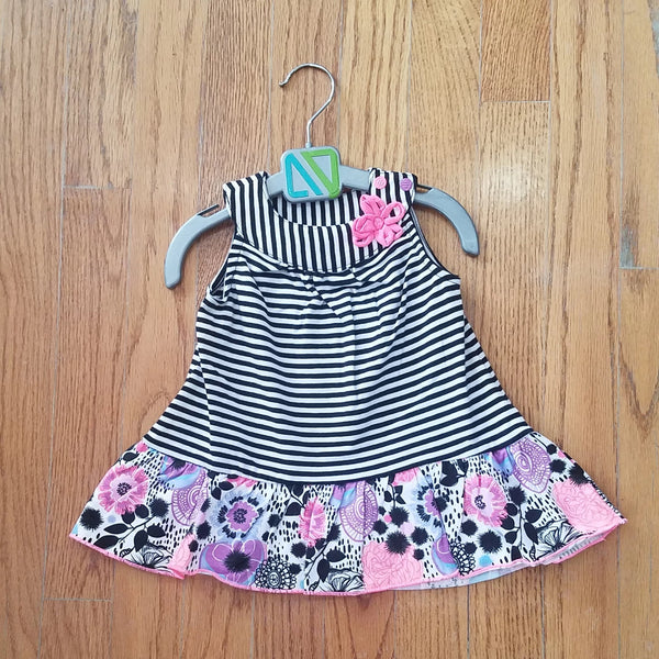 Noruk Black & White Stripe with Flowers Dress