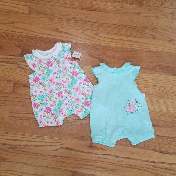 Little Me 2pk spring floral Romper set