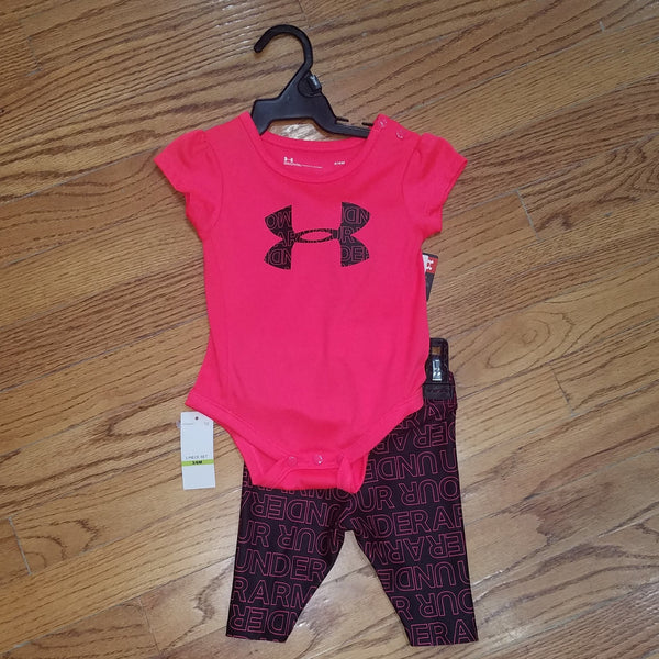 UA Hot Coral/Blk 2pc set