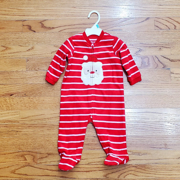 Little Me Santa Red Striped Sleeper