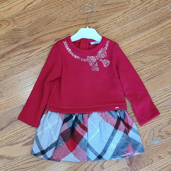 Mayoral Red Bow Check Dress