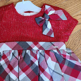Mayoral Red/Gray Sweater check dress