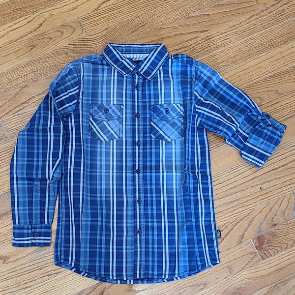 Silver Brand Blue Plaid Button Down