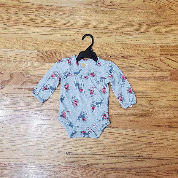 Carhartt Gray Deer Floral Long Sleeve Onesie