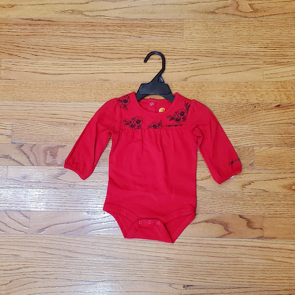 Carhartt Red Long Sleeve Onesie with Flowers