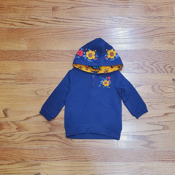 Noruk Navy Floral Hooded Sweatshirt Tunic