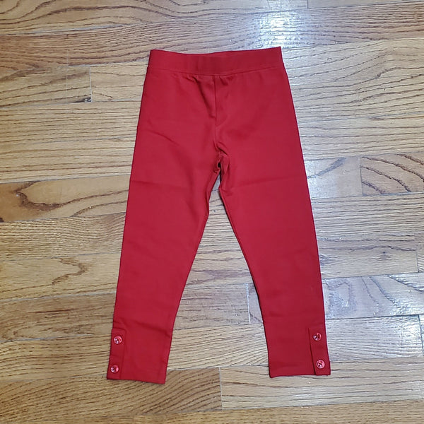 CR Sports Basic Red Leggings with Button Placket