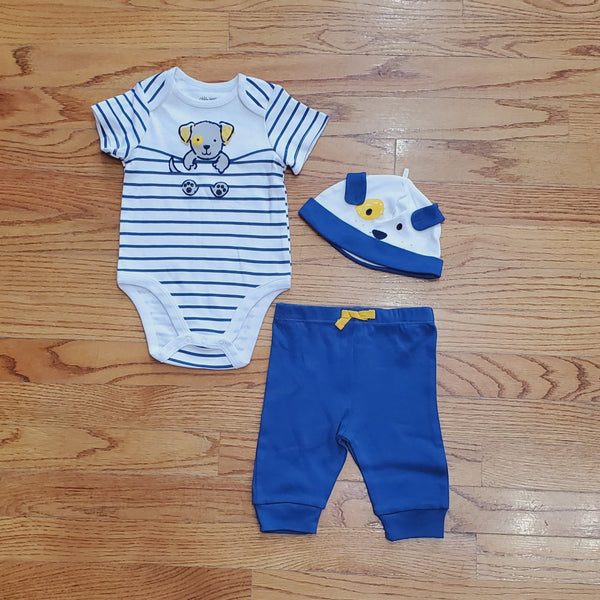 Little Me 3Pc Puppy Bodysuit Set