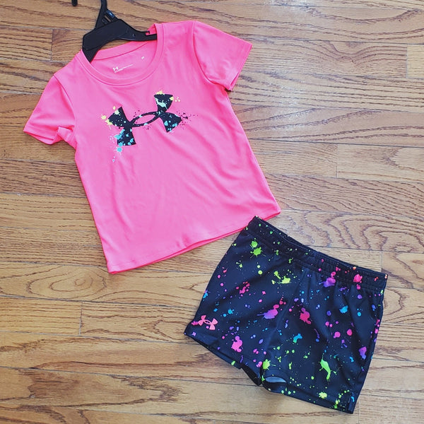 UA Pink Paint Splatter Short Set