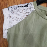 ML Kids Sage Lace Cap Sleeve shirt