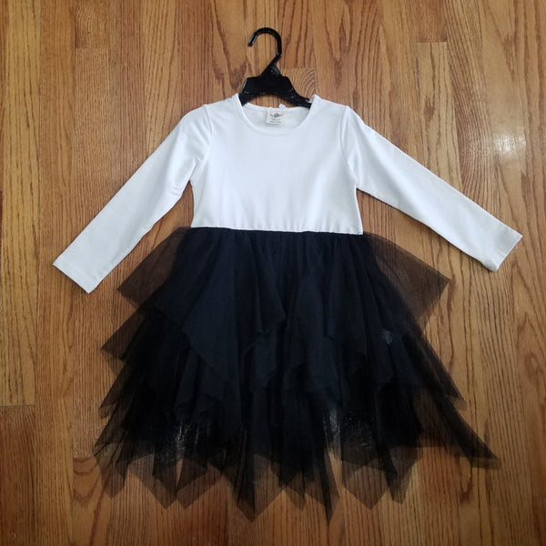 ML Kids Ivory/Black Tutu Dress